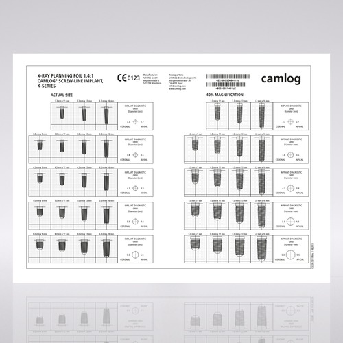 Picture of CAMLOG® Planning, X-Ray foil, SCREW-LINE, 1:1.4